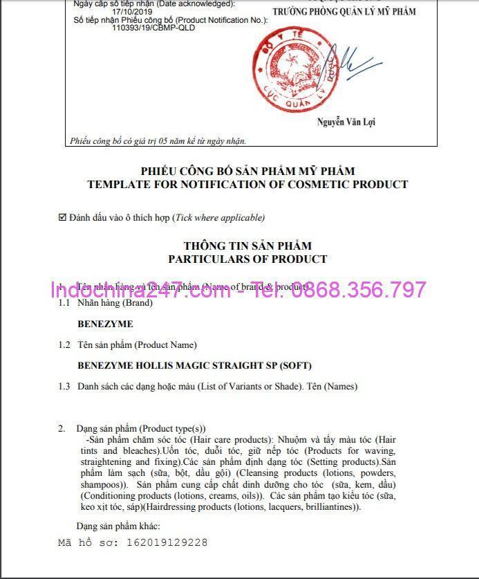 Phiếu công bố sản phẩm - Indochina247.com