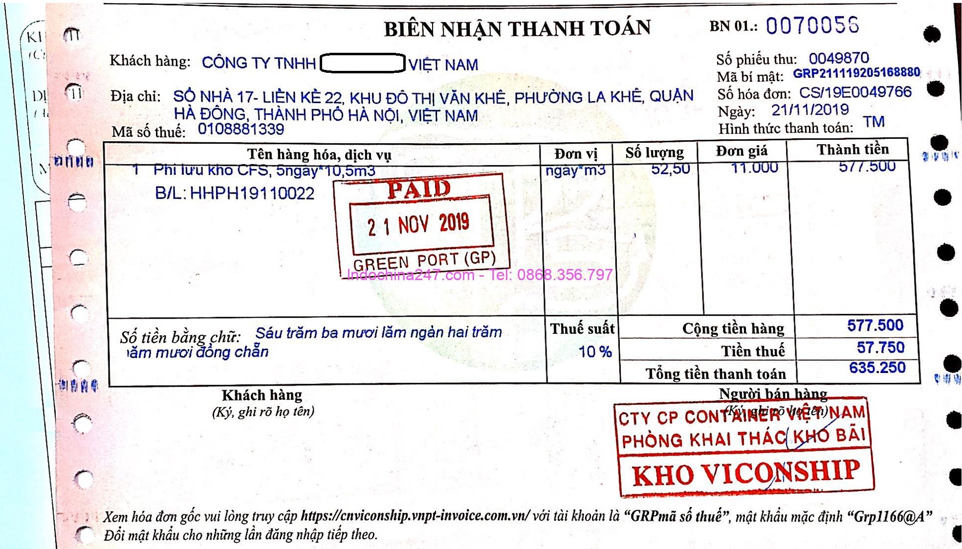 Biên lai thu phí lưu kho CFS hàng lẻ mỹ phẩm từ Hàn Quốc Indochina247.com