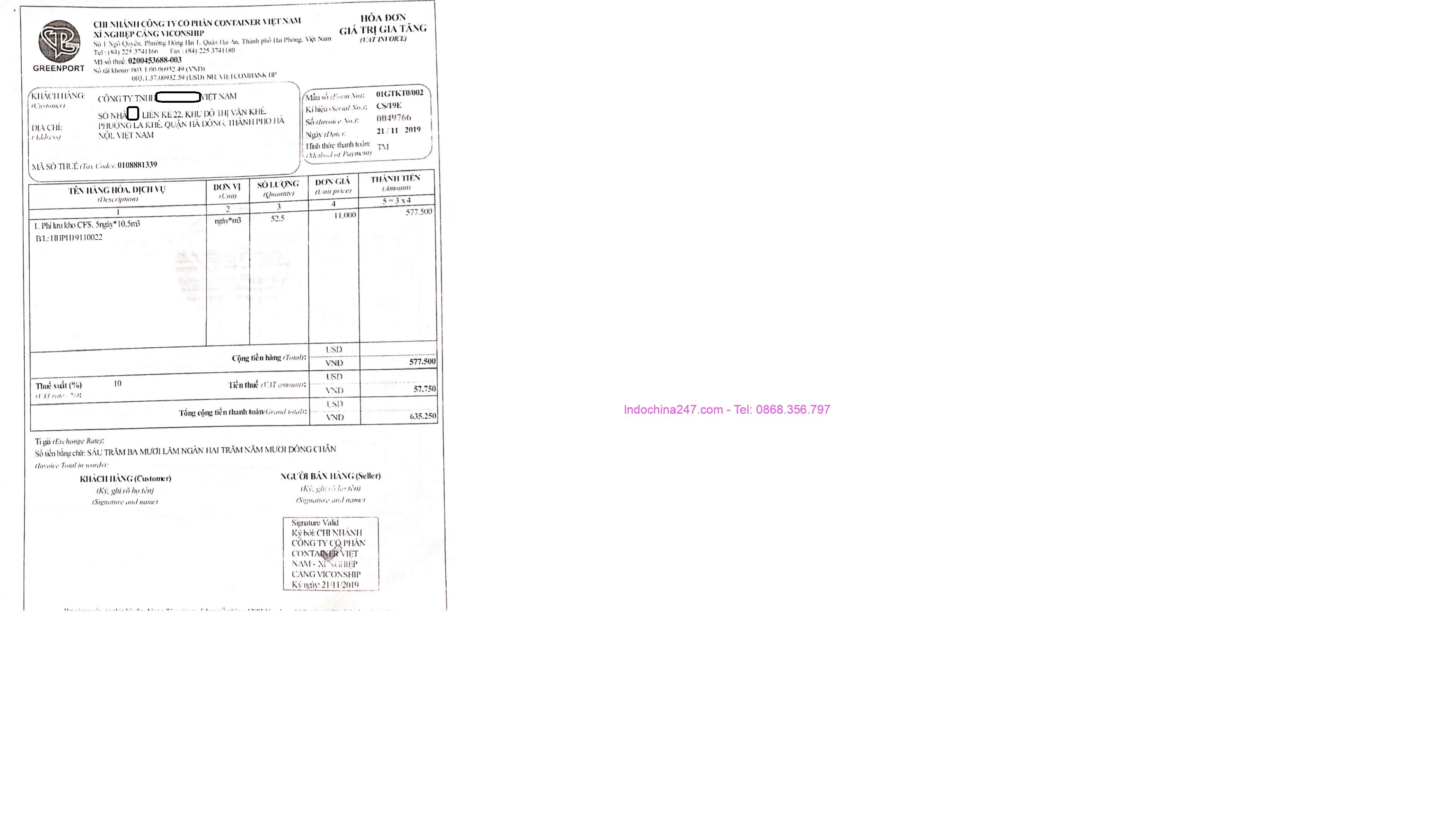 Hóa đơn lưu kho lô hàng nhập khẩu - Indochina247.com
