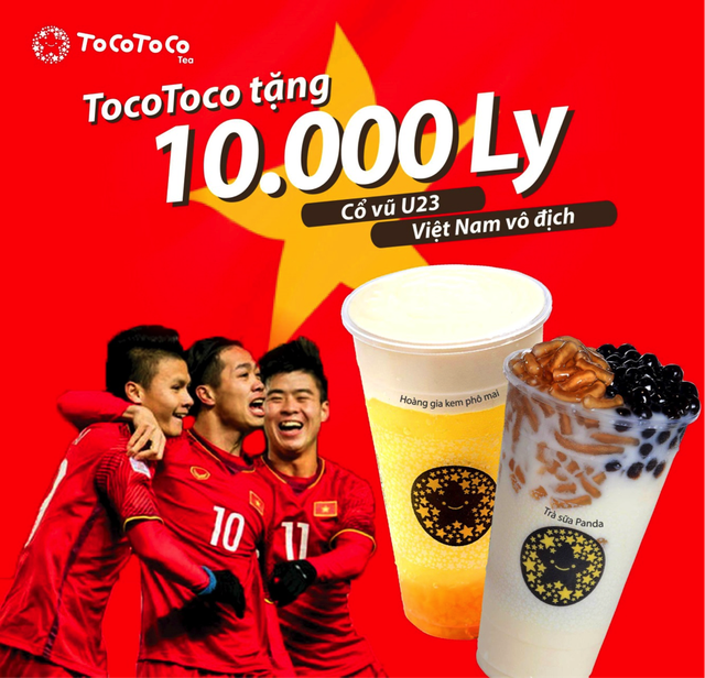 TocoToco tặng 10.000 ly trà sữa cổ vũ chiến thắng của đội tuyển U23 ngày 27/01